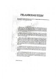 English Worksheet: Reading Frankenstein PART 2