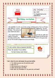 English Worksheet: a letter of invitation