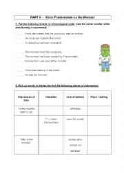 English Worksheet: Reading Frankenstein PART 3