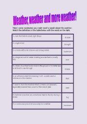 English Worksheet: Weather vocabulary and speaking exercise