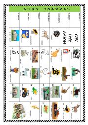 English Worksheet: ON THE FARM - January 2014 calendar