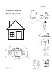 English Worksheet: Family and School Kinder  Categorize