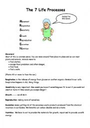 English worksheets: Life Processes Worksheet