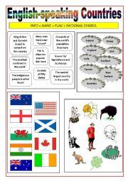 English Worksheet: English-speaking countries - Matching activity