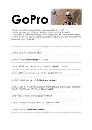 English Worksheet: 60 minutes: GoPro