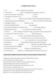 English Worksheet: Common Mistakes part 1