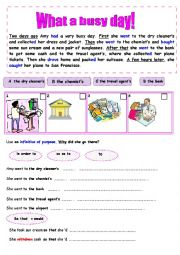 English Worksheet: infinitive of purpose  things to do before going on holiday.