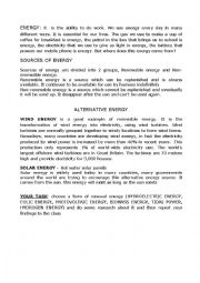 English Worksheet: alternative energy