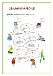 English worksheet: describing people