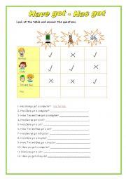 English worksheet: have got haas got
