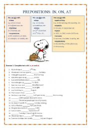 Prepositions IN, ON, AT