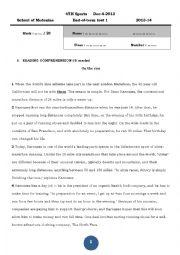 English Worksheet:  4th Sports test 2