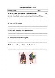 English Worksheet: History test Anglo-Saxons and Vikings
