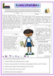 English Worksheet: Ryan´s school diary