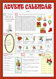 English Worksheet: Advent Calendar - Christmas Activities