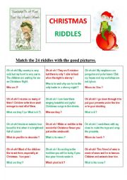 english worksheets 24 christmas riddles or memory game. Black Bedroom Furniture Sets. Home Design Ideas
