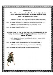 English Worksheet: Treasure Island - Long John Silver Comprehension