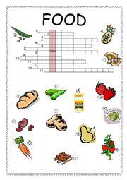 English Worksheet: Food Crossword