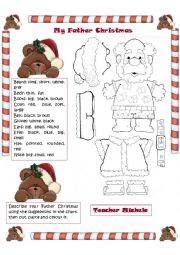English Worksheet: my Father Christmas: cut,paste,colour and describe him