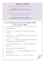 English Worksheet: Used to & Would exercises