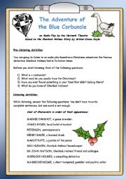 English Worksheet: The Adventure of the Blue Carbuncle - Listening Comprehension