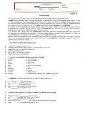 English Worksheet: English test (reading and grammar)