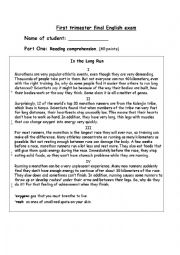 English worksheet: multiple skills english exam for teens