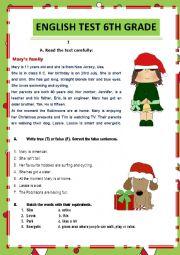 English Worksheet: Test 6th grade