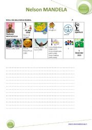 English Worksheet: Writing a biography: Nelson MANDELA