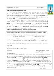 English Worksheet: Remedial work 8th form ( end of term test 1 )