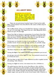 English Worksheet: READING - ALL ABOUT BEES! EDITABLE + 3 EXERCISES