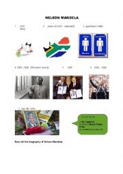 English Worksheet: nelson mandela�s short biography