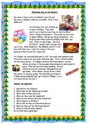 English Worksheet: Christmas Day at the Brown�s - Reading