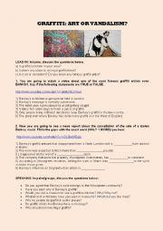 English Worksheet: BANKSY AND GRAFFITI