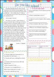 English Worksheet: Do you like school?