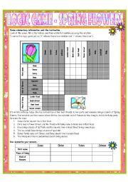 English Worksheet: Logic Game No. 10 - Spring Flowers