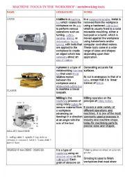 English Worksheet: machine tools