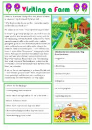 English Worksheet: visiting a farm