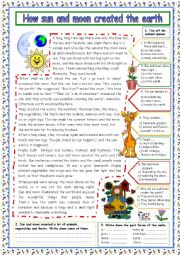 English Worksheet: How sun and moon created the earth (+KEY)