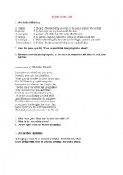 English Worksheet: Poem analysis- Remember