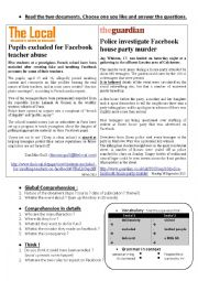 English Worksheet: Facebook misuses - students problems - news articles