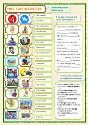 English Worksheet: Free-time Activities