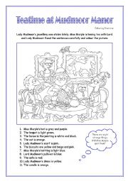 English Worksheet: Let�s be Detectives - Teatime at Mudmoor Manor