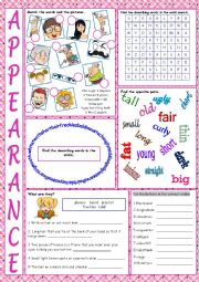 English worksheet: Appearance Vocabulary Exercises
