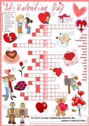 English Worksheet: St Valentine´s Day - crossword