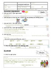 English Worksheet: mid term test 2 8th form