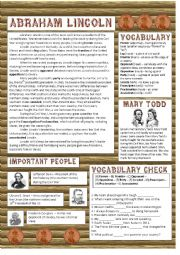 English Worksheet: President�s Day: Abraham Lincoln Reading