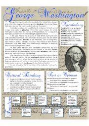 English Worksheet: President´s Day: George Washington Reading