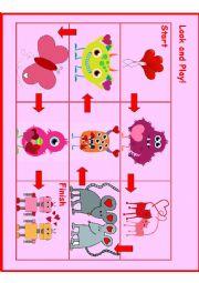 English Worksheet: Pre-School Valentines Day Board Game