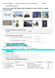 English Worksheet:  module 4: at the airport ( 9th form)